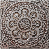 These handmade tiles make wonderful wall hangings and outdoor wall art.  Silver decorative tile handmade in Spain.