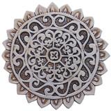 Handmade tile for outdoor wall art.  Decorative circular ceramic tile handmade in Spain