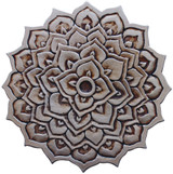 Handmade tile for outdoor wall art.  Decorative circular ceramic tile handmade in Spain