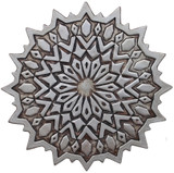 Circular ceramic tile wall hanging. Perfect for outdoor wall art or living room decor.