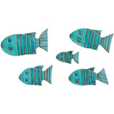 Turquoise handmade tile ceramic fish wall art installation. Handmade in Spain.