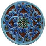 Mandala ceramic tile circular (14cm) Turquoise