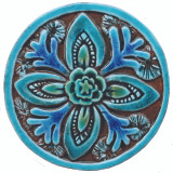 Suzani Circular Tile 15,5cm - Glazed in Turquoise