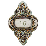 Handmade tile ceramic number plaque for house entrance.  Glazed in matt green and ocre. Made in Spain.
