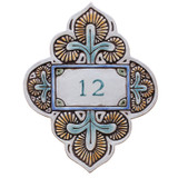 Handmade tile ceramic number plaque for house entrance.  Glazed in matt greens. Made in Spain.