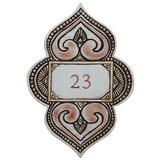 Handmade tile ceramic number plaque for house entrance.  Glazed in matt browns. Made in Spain.