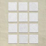 """Handmade Tiles Set12 white relief [30cm/11.8""""]"""