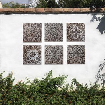 "Handmade Tiles Set4 silver Mandala [30cm/11.8""]"