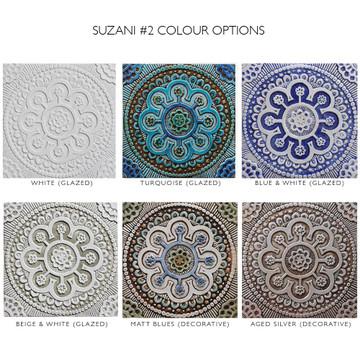 "Handmade Tiles Set4 silver Suzani [30cm/11.8""]"