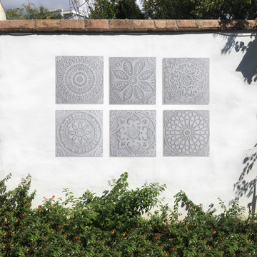 Handmade moroccan tile for kitchens, bathrooms and outdoor wall art. Decorative tile handmade in Spain. Relief tile glazed in grey and white.