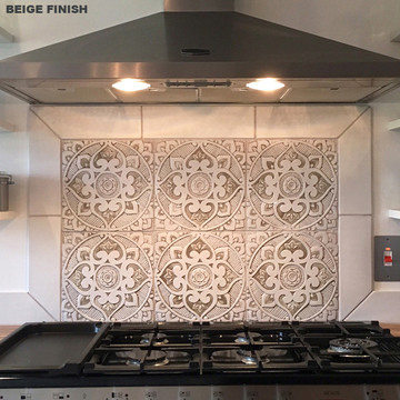 Handmade tile for kitchens, bathrooms and outdoor wall art. Decorative tile handmade in Spain. Relief tile glazed in grey and white.