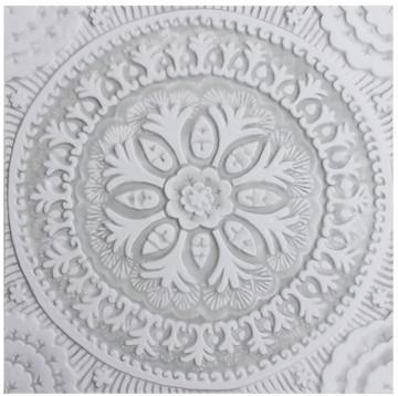 "Handmade Tiles Set4 Grey Suzani [30cm/11.8""]"