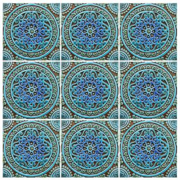 "Handmade tile turquoise mandala #1 [20cm/7.8""]"