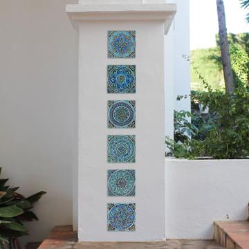 Handmade Tiles Turquoise Set10 [20cm]