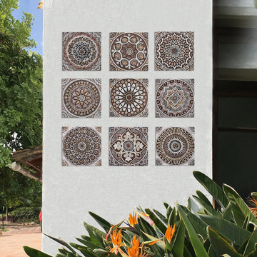 "Handmade Tile matt brown suzani #4 [30cm/11.8""]"