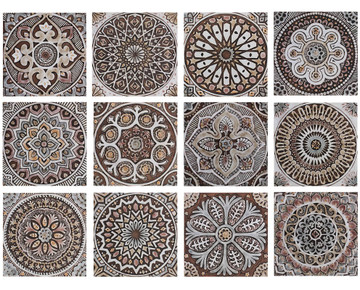 "Handmade Tiles Set4 matt brown Mandala [30cm/11.8""]"
