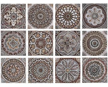 Handmade Tiles matt brown Set3 [30cm/11.8‰Û]