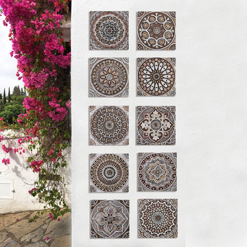 These decorative tiles make wonderful wall hangings and outdoor wall art.  These handmade Spanish tiles are carved in relief and glazed in matt brown and finished in aged effect.