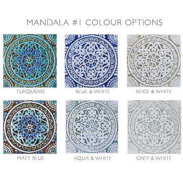 Blue and white handmade tile with relief for kitchens bathrooms and outdoor wall art. Decorative tile handmade in Spain.