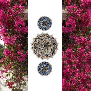 Ceramic wall art circles Mandala #2 Matt blue SET3
