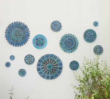 Ceramic wall art circles Moroccan #4 Matt blue SET3