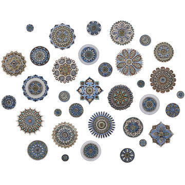 "Ceramic Wall Art Matt Blue moroccan #2 [28cm/11""]"