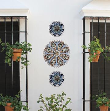 "Ceramic Wall Art Matt blue Suzani #3 [28.5cm/11.2""]"