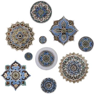 """Ceramic Wall Art Matt Blue Mandala #1 [29cm/11.4""""]"""