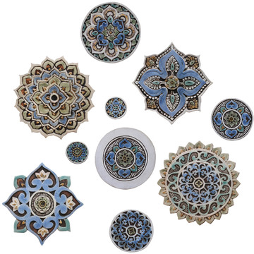 "Ceramic Wall Art Matt Blue Mandala #1 [29cm/11.4""]"