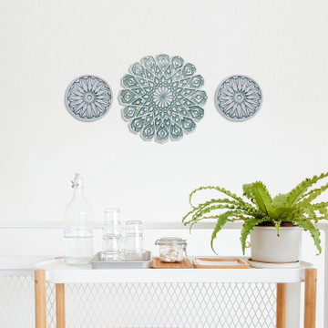 Moroccan ceramic wall art #4/R Aqua [28cm]