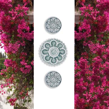 Suzani ceramic wall art #2/R - Aqua          [25cm]