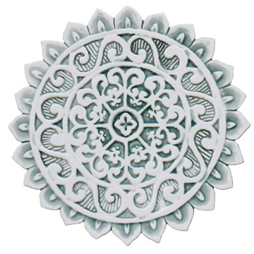 Mandala ceramic wall art #1/R - Aqua [28cm]