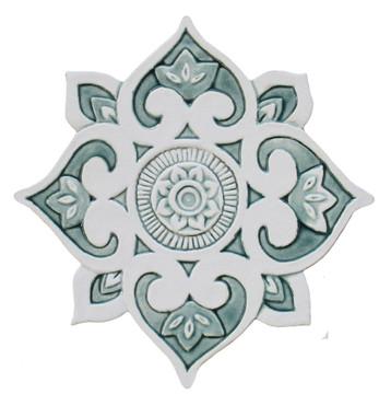 Mandala ceramic wall art #3/R - Aqua [28cm]