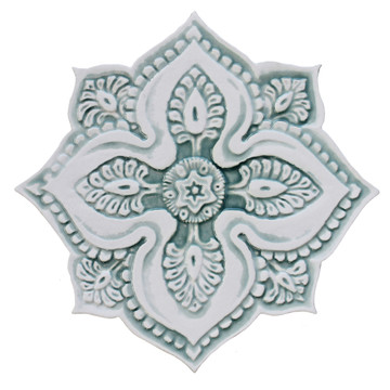 """Mandala ceramic wall art #5/R - Aqua [28cm/11""""]"""