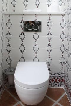 Handmade tiles bathroom Diamond red