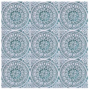 """Handmade Tiles aqua moroccan Set4 [20cm/7.8""""]"""
