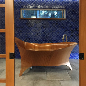 Handmade tiles bathroom fishscale blue