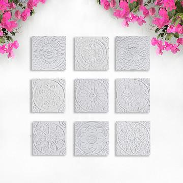 """Handmade Tiles Set6 White Relief [20cm/7.8""""]"""