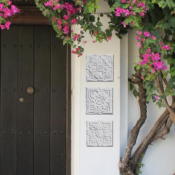 "Handmade Tiles Set4 White Relief Suzani[15cm/5.9""]"