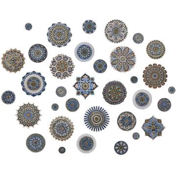 """Ceramic Wall Art circle Matt Blue Mandala #3 [30cm/11.8""""]"""