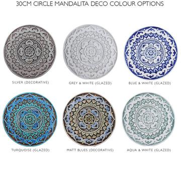 """Ceramic Wall Art circle Matt Blue Mandalita deco [30cm/11.8""""]"""