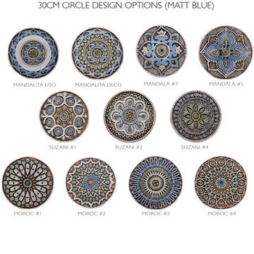 """Ceramic Wall Art circle Matt Blue Mandalita liso [30cm/11.8""""]"""