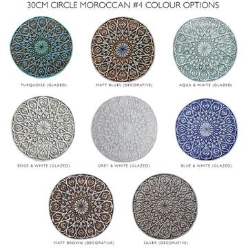 """Ceramic Wall Art circle aqua Moroccan #4 [30cm/11.8""""]"""