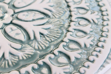 "Ceramic Wall Art circle aqua Suzani #4 [30cm/11.8""]"