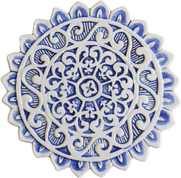 Ceramic wall art circles SET34 Blue