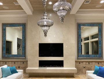 Handmade tiles used in large luxurious mirrors.  Decorative tiles handmade in Spain.