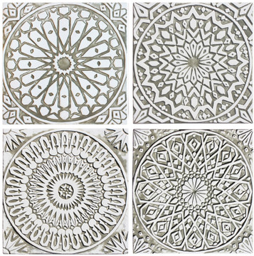 Handmade moroccan tile for kitchens, bathrooms and outdoor wall art. Decorative tile handmade in Spain. Relief tile glazed in beige and white.