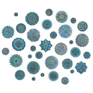 "Ceramic wall art Turquoise Moroccan #3 [28cm/11""]"