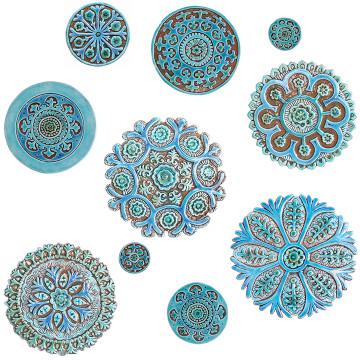"Ceramic wall art Turquoise Suzani #2 [25cm/9.8""]]"