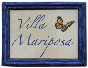 House sign made from ceramic  - hand painted sign - house name - villa mariposa